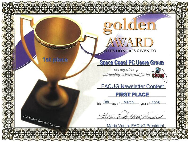 The Space Coast PC Journal Description and Staff – 1st Place Certificate